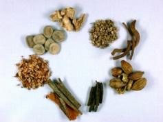 Inhaltsstoffe des Arzneimittels gegen Magen-Darmstörungen (Padma Lax), u.a. Cascararinde, Langer Pfeffer, Myrobalanen, Ingwerwurzel, Enzianwurzel, Rhabarberwurzel